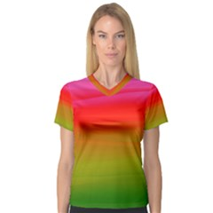 Watercolour Abstract Paint Digitally Painted Background Texture Women s V Neck Sport Mesh Tee