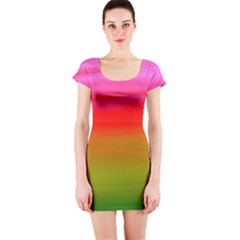 Watercolour Abstract Paint Digitally Painted Background Texture Short Sleeve Bodycon Dress