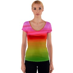 Watercolour Abstract Paint Digitally Painted Background Texture Women s V-Neck Cap Sleeve Top