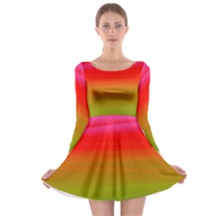 Watercolour Abstract Paint Digitally Painted Background Texture Long Sleeve Skater Dress