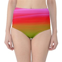 Watercolour Abstract Paint Digitally Painted Background Texture High-Waist Bikini Bottoms