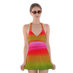Watercolour Abstract Paint Digitally Painted Background Texture Halter Swimsuit Dress
