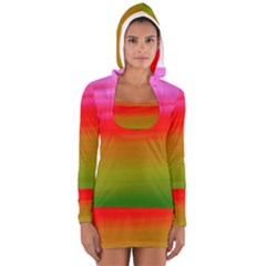 Watercolour Abstract Paint Digitally Painted Background Texture Women s Long Sleeve Hooded T Shirt