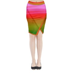 Watercolour Abstract Paint Digitally Painted Background Texture Midi Wrap Pencil Skirt