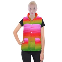 Watercolour Abstract Paint Digitally Painted Background Texture Women s Button Up Puffer Vest