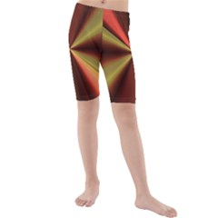 Copper Beams Abstract Background Pattern Kids  Mid Length Swim Shorts