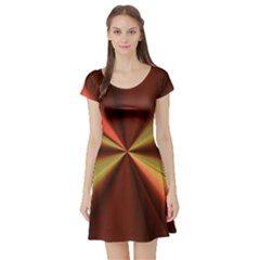 Copper Beams Abstract Background Pattern Short Sleeve Skater Dress