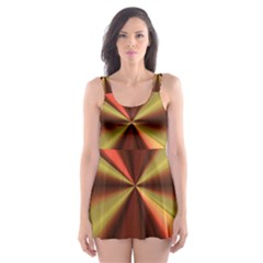 Copper Beams Abstract Background Pattern Skater Dress Swimsuit