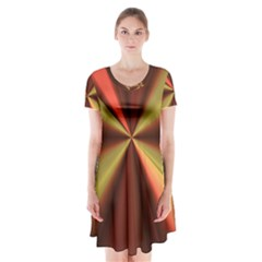 Copper Beams Abstract Background Pattern Short Sleeve V-neck Flare Dress