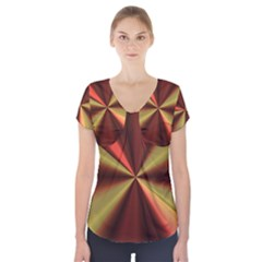 Copper Beams Abstract Background Pattern Short Sleeve Front Detail Top