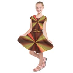 Copper Beams Abstract Background Pattern Kids  Short Sleeve Dress