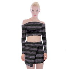 Stripes2 Black Marble & Black Watercolor Off Shoulder Top With Skirt Set