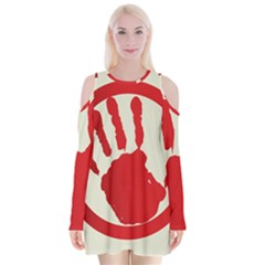 Bloody Handprint Stop Emob Sign Red Circle Velvet Long Sleeve Shoulder Cutout Dress