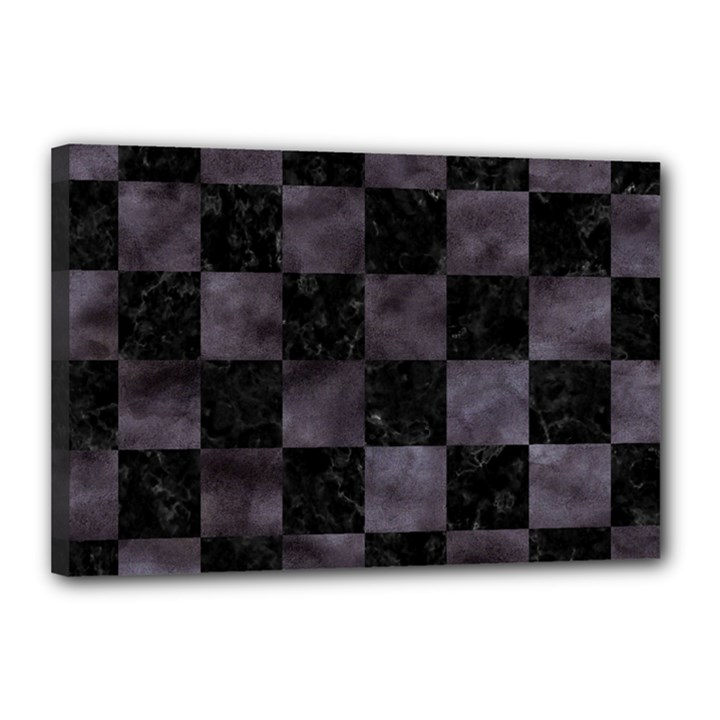 SQUARE1 BLACK MARBLE & BLACK WATERCOLOR Canvas 18  x 12  (Stretched)