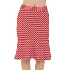 Chevron Wave Red Orange Mermaid Skirt