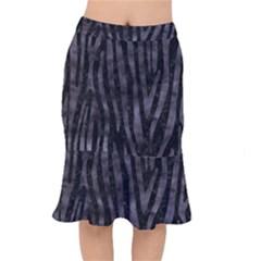 Skin4 Black Marble & Black Watercolor (r) Short Mermaid Skirt