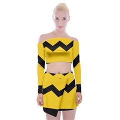 Chevron Wave Yellow Black Line Off Shoulder Top With Skirt Set