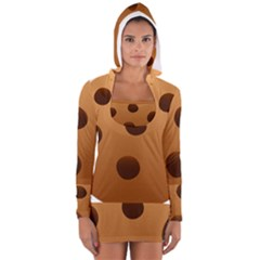 Cookie Chocolate Biscuit Brown Women s Long Sleeve Hooded T Shirt