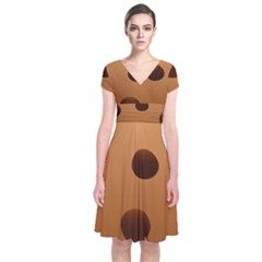 Cookie Chocolate Biscuit Brown Short Sleeve Front Wrap Dress