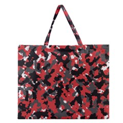 Bloodshot Camo Red Urban Initial Camouflage Zipper Large Tote Bag