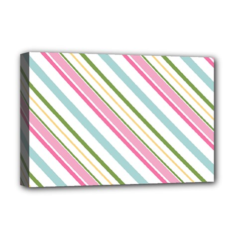 Diagonal Stripes Color Rainbow Pink Green Red Blue Deluxe Canvas 18  X 12