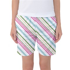 Diagonal Stripes Color Rainbow Pink Green Red Blue Women s Basketball Shorts
