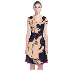 Don t Kiss With A Bloody Nose Face Man Girl Love Short Sleeve Front Wrap Dress