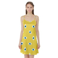 Eye Blue White Yellow Monster Sexy Image Satin Night Slip