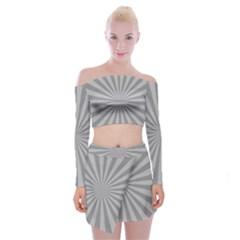 Grey Starburst Line Light Off Shoulder Top With Skirt Set