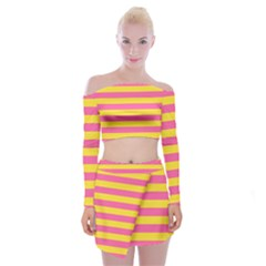 Horizontal Pink Yellow Line Off Shoulder Top With Skirt Set