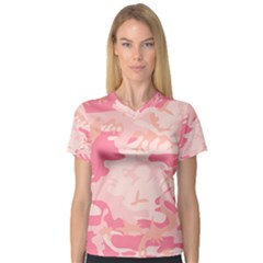 Initial Camouflage Camo Pink Women s V Neck Sport Mesh Tee