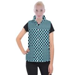 Polka Dot Blue Black Women s Button Up Puffer Vest