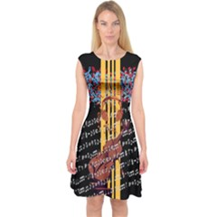 Music note Capsleeve Midi Dress