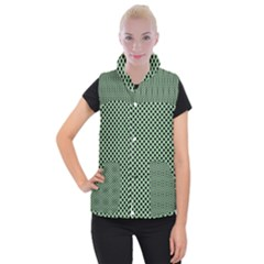 Polka Dot Green Black Women s Button Up Puffer Vest