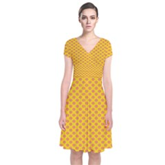 Polka Dot Orange Yellow Short Sleeve Front Wrap Dress