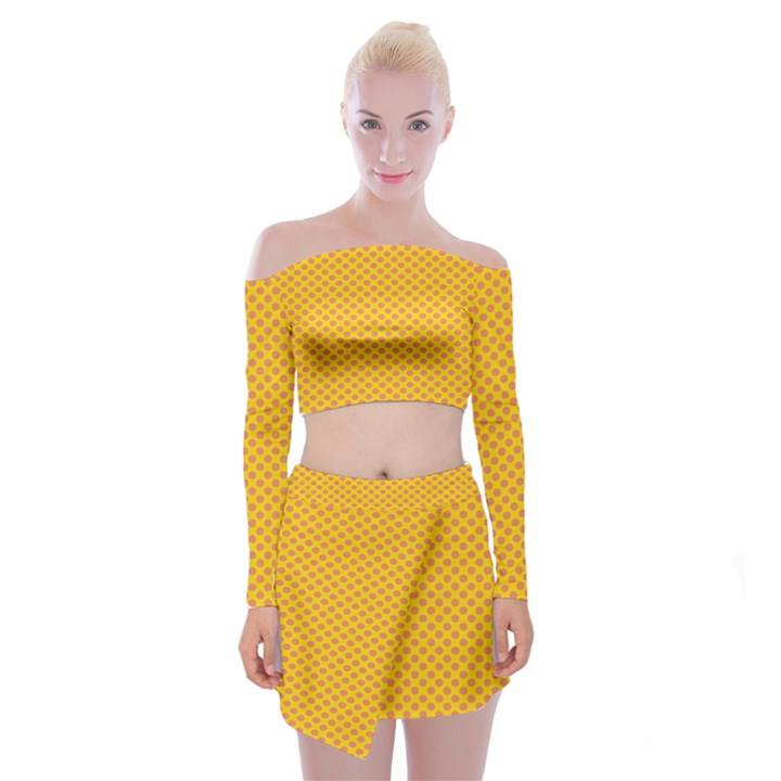 Polka Dot Orange Yellow Off Shoulder Top with Skirt Set