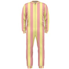 Pink Yellow Stripes Line Onepiece Jumpsuit (men)