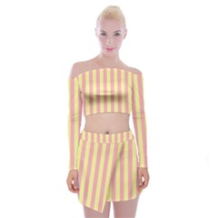 Pink Yellow Stripes Line Off Shoulder Top With Skirt Set