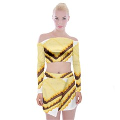 Sandwich Biscuit Chocolate Bread Off Shoulder Top With Skirt Set