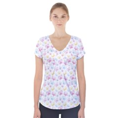 Pretty Colorful Butterflies Short Sleeve Front Detail Top