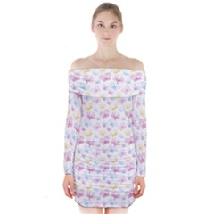 Pretty Colorful Butterflies Long Sleeve Off Shoulder Dress
