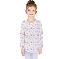 Pretty Colorful Butterflies Kids  Long Sleeve Tee