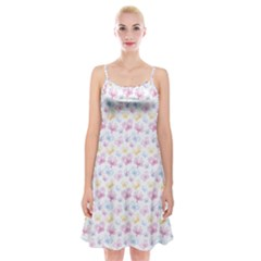 Pretty Colorful Butterflies Spaghetti Strap Velvet Dress