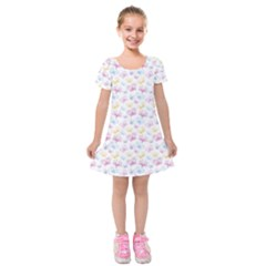 Pretty Colorful Butterflies Kids  Short Sleeve Velvet Dress