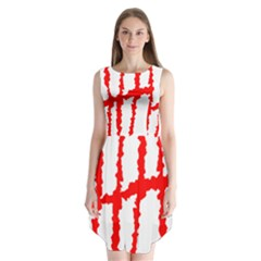 Scratches Claw Red White H Sleeveless Chiffon Dress