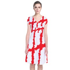 Scratches Claw Red White H Short Sleeve Front Wrap Dress