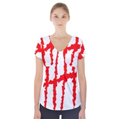 Scratches Claw Red White H Short Sleeve Front Detail Top