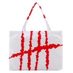 Scratches Claw Red White H Medium Zipper Tote Bag