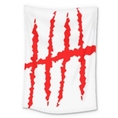 Scratches Claw Red White H Large Tapestry