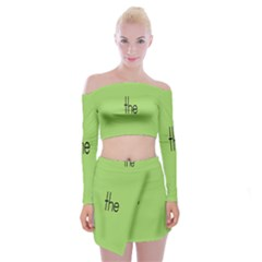 Sign Green The Off Shoulder Top With Skirt Set